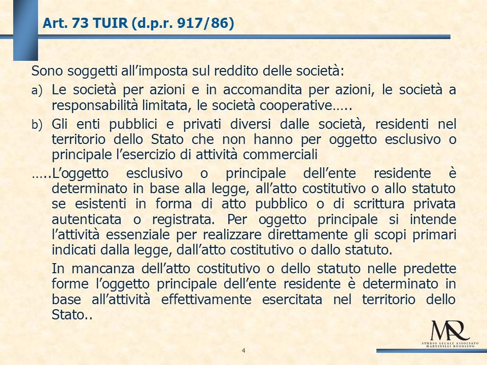 4 Art. 73 TUIR (d.p.r.