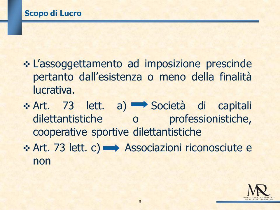 5 Scopo di Lucro Lassoggettamento ad imposizione prescinde pertanto dallesistenza o meno della finalità lucrativa.