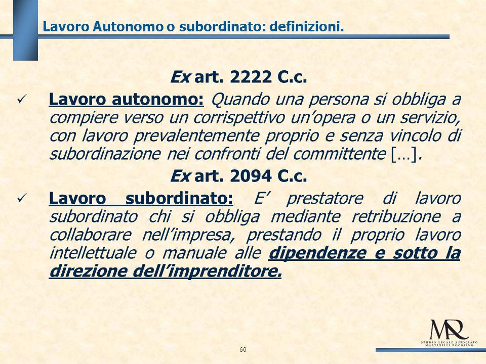 Lavoro Autonomo o subordinato: definizioni. Ex art.