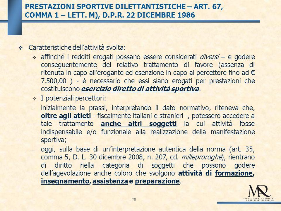 PRESTAZIONI SPORTIVE DILETTANTISTICHE – ART. 67, COMMA 1 – LETT.
