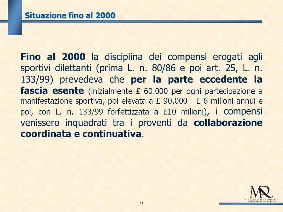 Situazione fino al 2000 93 Fino al 2000 la disciplina dei compensi erogati agli sportivi dilettanti (prima L.