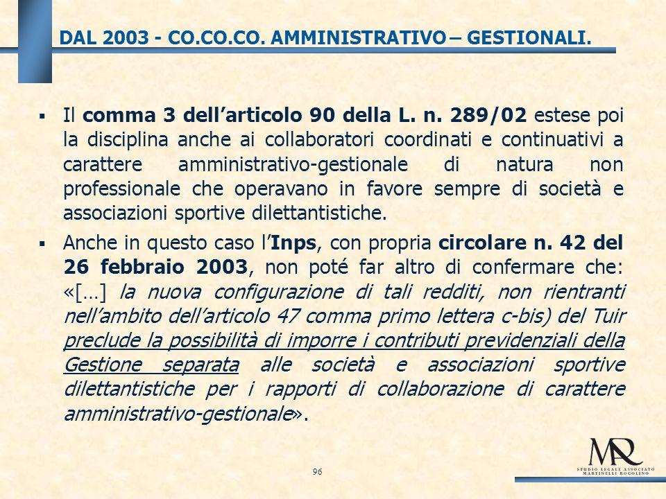 DAL 2003 - CO.CO.CO. AMMINISTRATIVO – GESTIONALI.