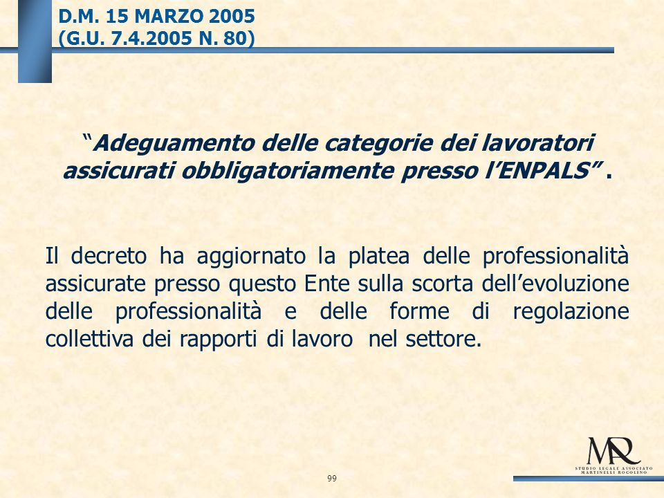 D.M. 15 MARZO 2005 (G.U. 7.4.2005 N.