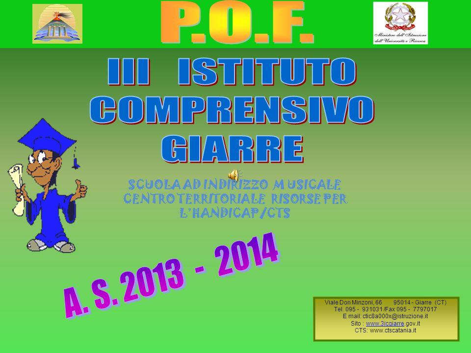 LISTITUTO E LE SUE SCUOLE Il III Istituto Comprensivo di Giarre è costituito da sette plessi ubicati nei comuni di Giarre e di SantAlfio.