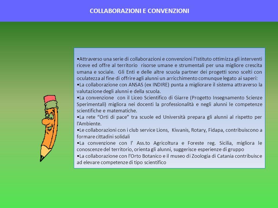COLLABORAZIONI E CONVENZIONI Attraverso una serie di collaborazioni e convenzioni lIstituto ottimizza gli interventi riceve ed offre al territorio ris