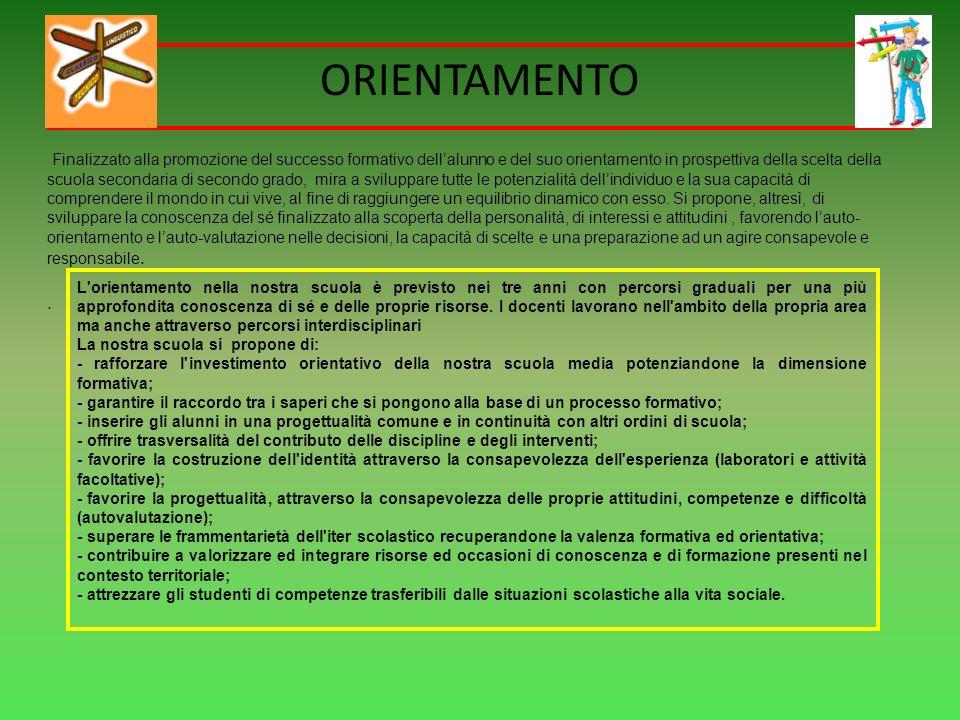 ORIENTAMENTO Finalizzato alla promozione del successo formativo dellalunno e del suo orientamento in prospettiva della scelta della scuola secondaria