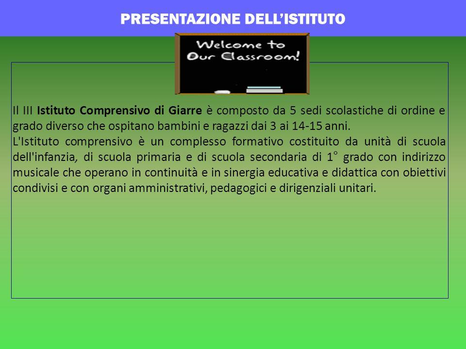 PRESENTAZIONE DELLISTITUTO Il III Istituto Comprensivo di Giarre è composto da 5 sedi scolastiche di ordine e grado diverso che ospitano bambini e rag