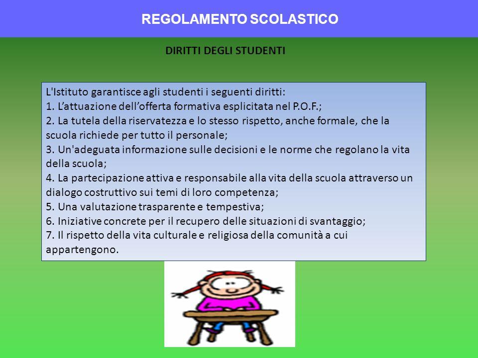REGOLAMENTO SCOLASTICO DIRITTI DEGLI STUDENTI L'Istituto garantisce agli studenti i seguenti diritti: 1. Lattuazione dellofferta formativa esplicitata