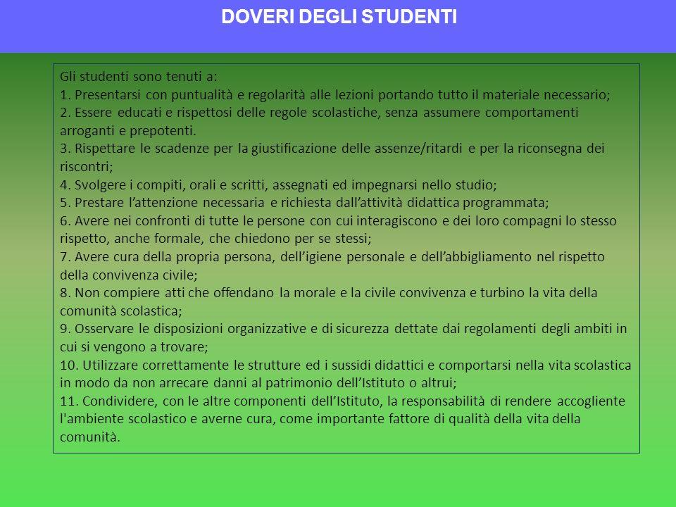 DOVERI DEGLI STUDENTI Gli studenti sono tenuti a: 1. Presentarsi con puntualità e regolarità alle lezioni portando tutto il materiale necessario; 2. E