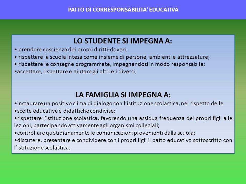 PATTO DI CORRESPONSABILITA EDUCATIVA LO STUDENTE SI IMPEGNA A: prendere coscienza dei propri diritti-doveri; rispettare la scuola intesa come insieme