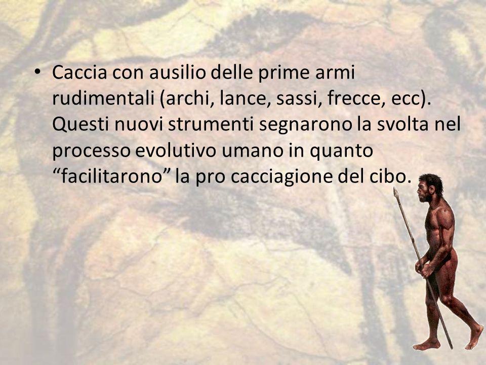 Caccia con ausilio delle prime armi rudimentali (archi, lance, sassi, frecce, ecc). Questi nuovi strumenti segnarono la svolta nel processo evolutivo