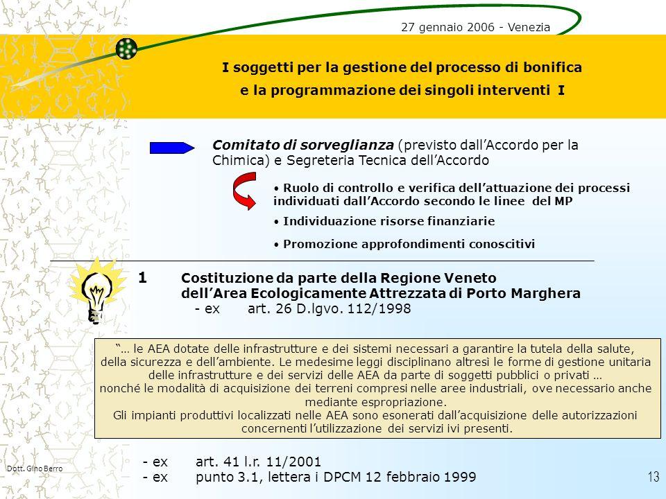 13 I soggetti per la gestione del processo di bonifica e la programmazione dei singoli interventi I Comitato di sorveglianza (previsto dallAccordo per
