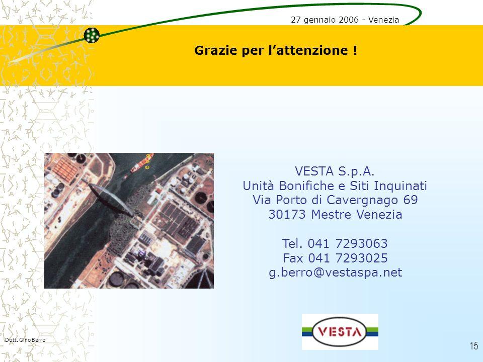 15 Grazie per lattenzione ! VESTA S.p.A. Unità Bonifiche e Siti Inquinati Via Porto di Cavergnago 69 30173 Mestre Venezia Tel. 041 7293063 Fax 041 729