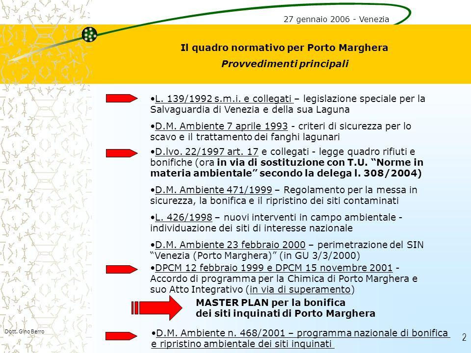 2 Dott. Gino Berro Il quadro normativo per Porto Marghera Provvedimenti principali L. 139/1992 s.m.i. e collegati – legislazione speciale per la Salva
