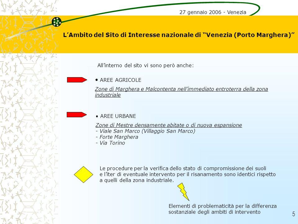 5 LAmbito del Sito di Interesse nazionale di Venezia (Porto Marghera) 27 gennaio 2006 - Venezia AREE AGRICOLE Zone di Marghera e Malcontenta nellimmed
