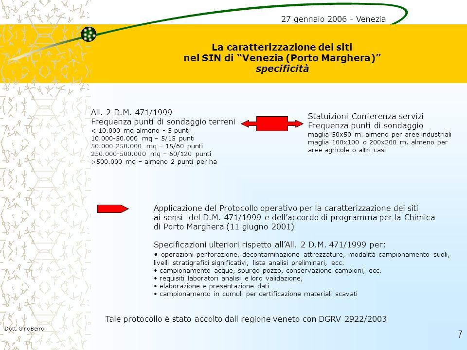 7 La caratterizzazione dei siti nel SIN di Venezia (Porto Marghera) specificità Dott. Gino Berro 27 gennaio 2006 - Venezia All. 2 D.M. 471/1999 Freque