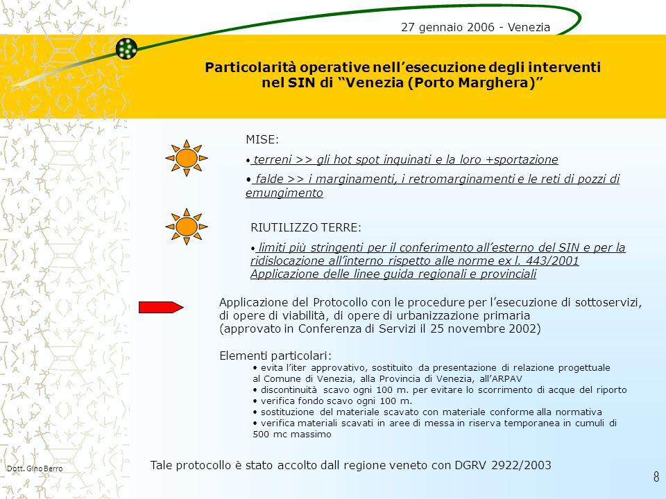 8 Particolarità operative nellesecuzione degli interventi nel SIN di Venezia (Porto Marghera) Dott. Gino Berro 27 gennaio 2006 - Venezia MISE: terreni