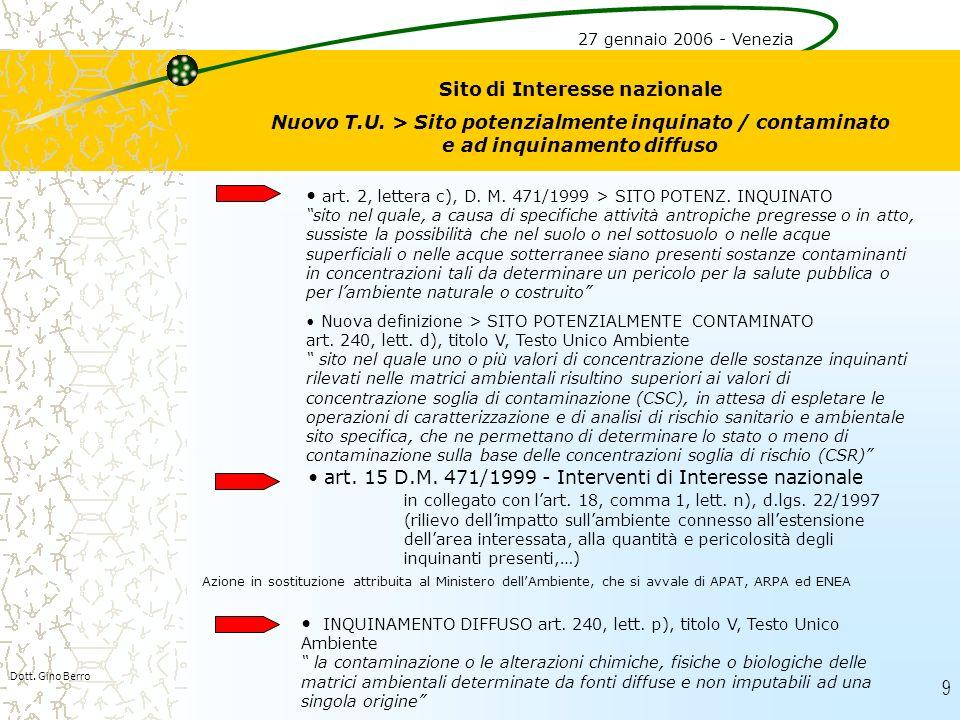 9 Dott. Gino Berro Sito di Interesse nazionale Nuovo T.U. > Sito potenzialmente inquinato / contaminato e ad inquinamento diffuso art. 2, lettera c),