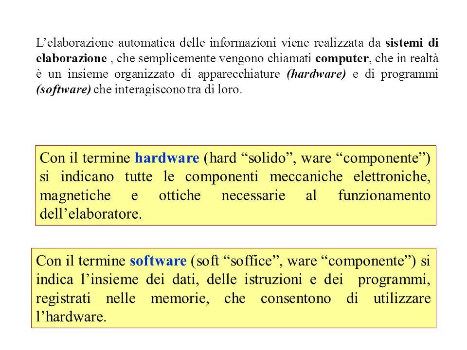 Lelaborazione automatica delle informazioni viene realizzata da sistemi di elaborazione, che semplicemente vengono chiamati computer, che in realtà è