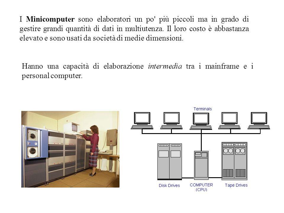 I Minicomputer sono elaboratori un po' più piccoli ma in grado di gestire grandi quantità di dati in multiutenza. Il loro costo è abbastanza elevato e