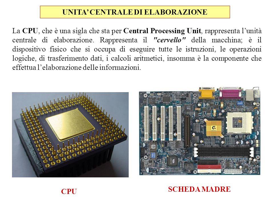 La CPU, che è una sigla che sta per Central Processing Unit, rappresenta lunità centrale di elaborazione. Rappresenta il