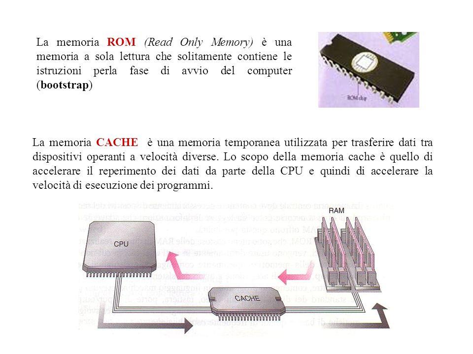 La memoria CACHE è una memoria temporanea utilizzata per trasferire dati tra dispositivi operanti a velocità diverse. Lo scopo della memoria cache è q