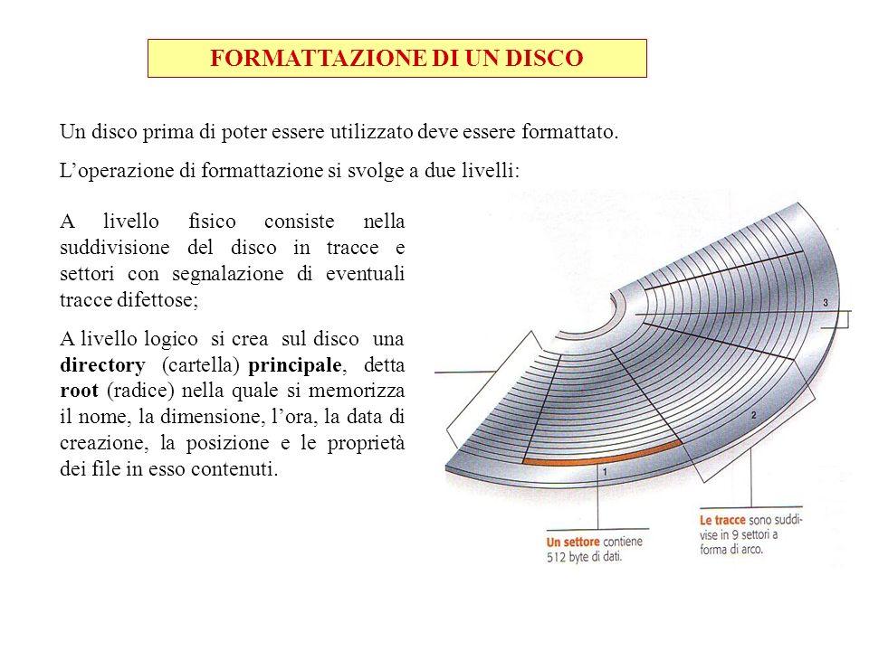 FORMATTAZIONE DI UN DISCO Un disco prima di poter essere utilizzato deve essere formattato. Loperazione di formattazione si svolge a due livelli: A li
