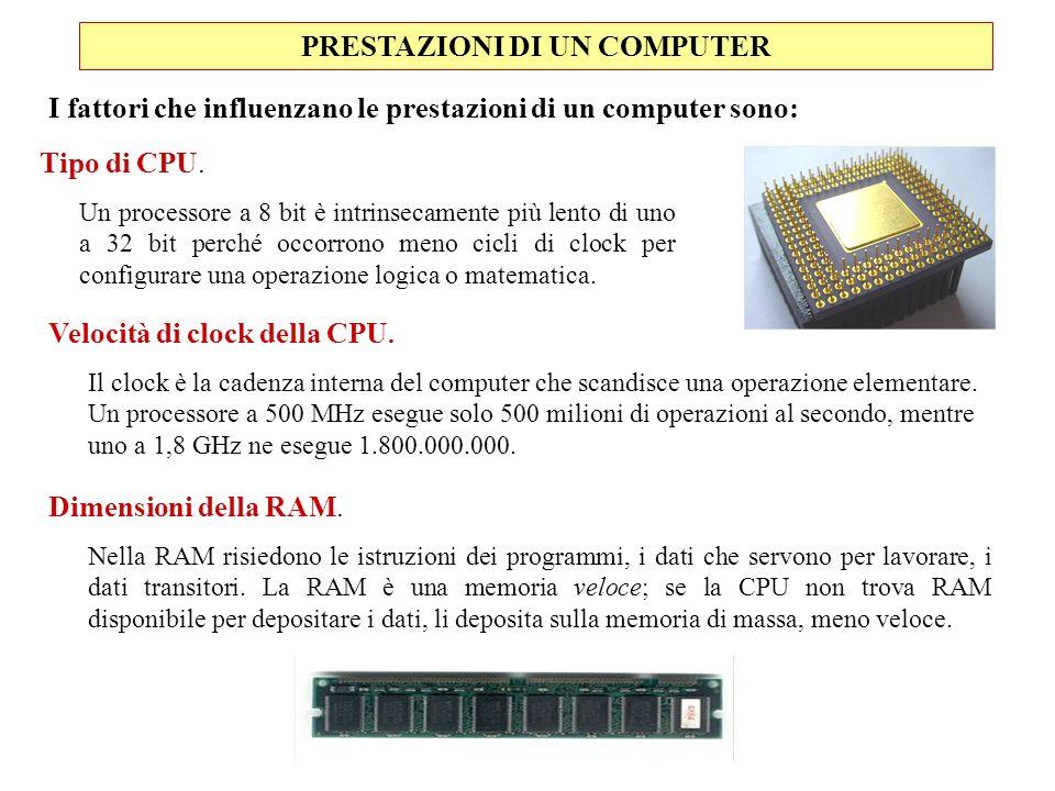 PRESTAZIONI DI UN COMPUTER Tipo di CPU. Un processore a 8 bit è intrinsecamente più lento di uno a 32 bit perché occorrono meno cicli di clock per con
