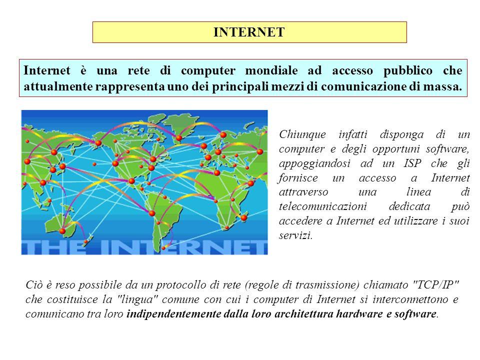 INTERNET Ciò è reso possibile da un protocollo di rete (regole di trasmissione) chiamato
