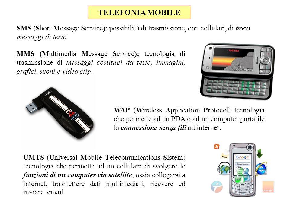 SMS (Short Message Service): possibilità di trasmissione, con cellulari, di brevi messaggi di testo. MMS (Multimedia Message Service): tecnologia di t