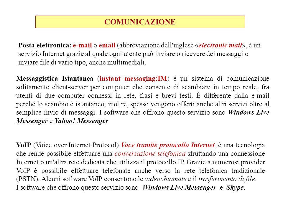 COMUNICAZIONE Posta elettronica: e-mail o email (abbreviazione dell'inglese «electronic mail», è un servizio Internet grazie al quale ogni utente può