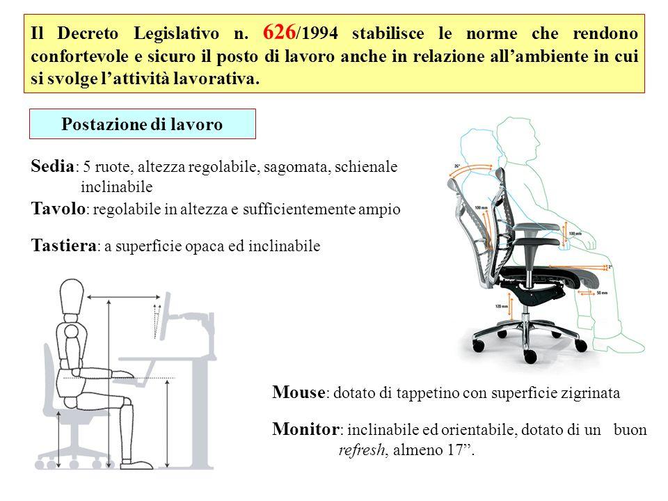 Il Decreto Legislativo n. 626 /1994 stabilisce le norme che rendono confortevole e sicuro il posto di lavoro anche in relazione allambiente in cui si