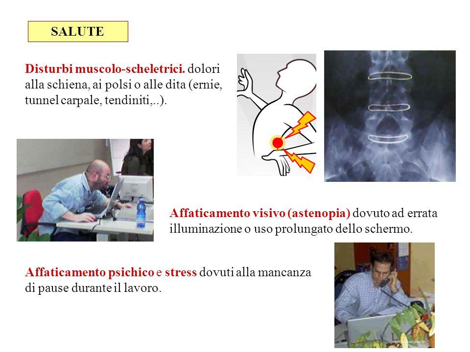 SALUTE Disturbi muscolo-scheletrici. dolori alla schiena, ai polsi o alle dita (ernie, tunnel carpale, tendiniti,..). Affaticamento visivo (astenopia)