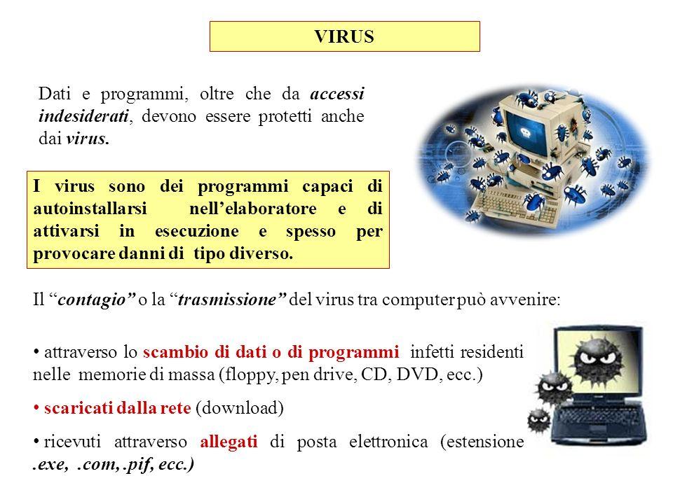 VIRUS Dati e programmi, oltre che da accessi indesiderati, devono essere protetti anche dai virus. attraverso lo scambio di dati o di programmi infett
