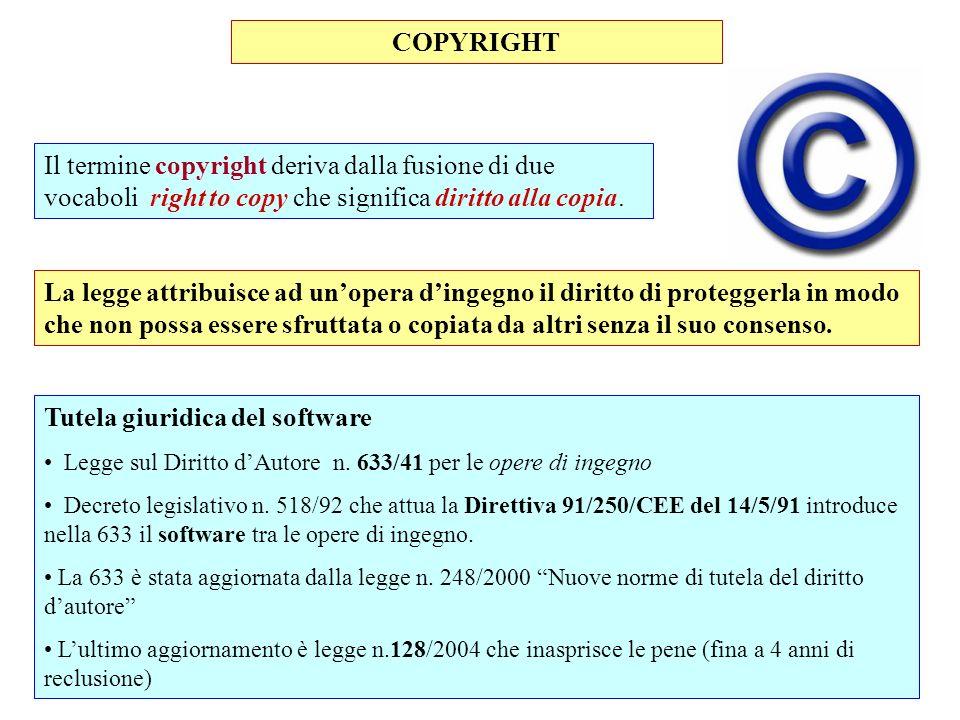 COPYRIGHT Tutela giuridica del software Legge sul Diritto dAutore n. 633/41 per le opere di ingegno Decreto legislativo n. 518/92 che attua la Diretti