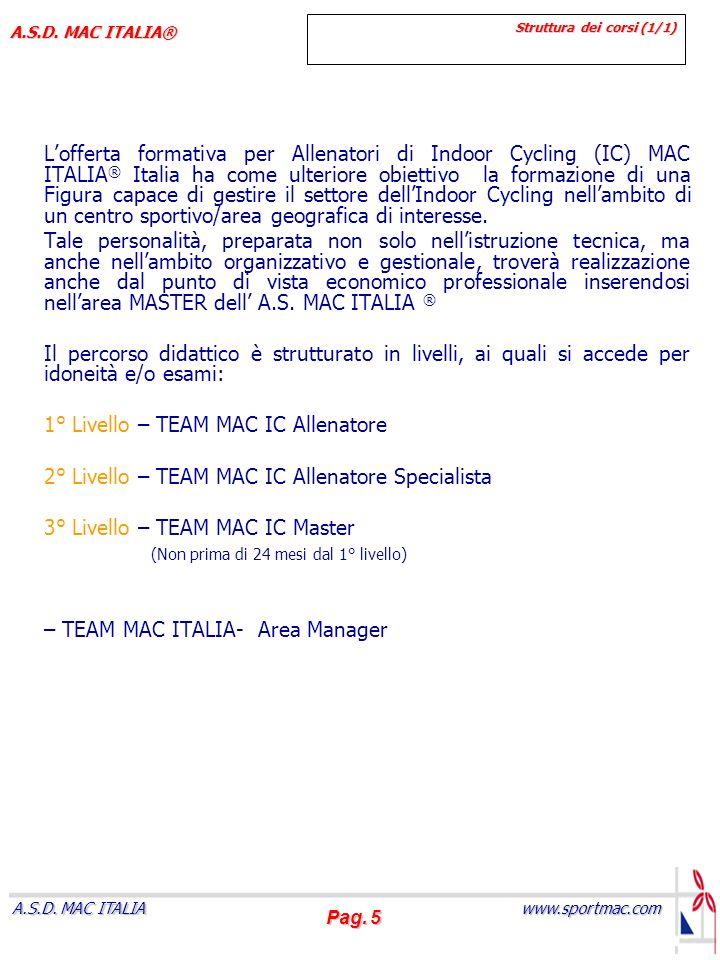 Pag. 5 www.sportmac.com A.S.D. MAC ITALIA A.S.D. MAC ITALIA® Struttura dei corsi (1/1) Lofferta formativa per Allenatori di Indoor Cycling (IC) MAC IT
