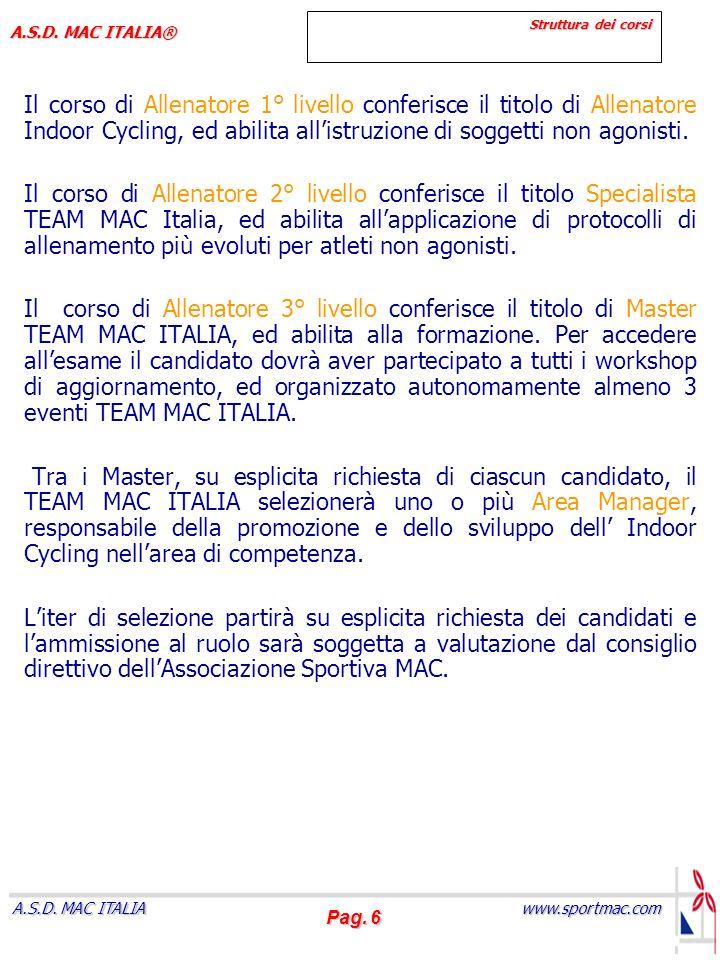 Pag. 6 www.sportmac.com A.S.D. MAC ITALIA A.S.D. MAC ITALIA® Struttura dei corsi Il corso di Allenatore 1° livello conferisce il titolo di Allenatore