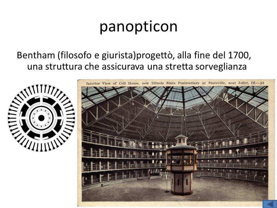 Bentham (filosofo e giurista)progettò, alla fine del 1700, una struttura che assicurava una stretta sorveglianza panopticon