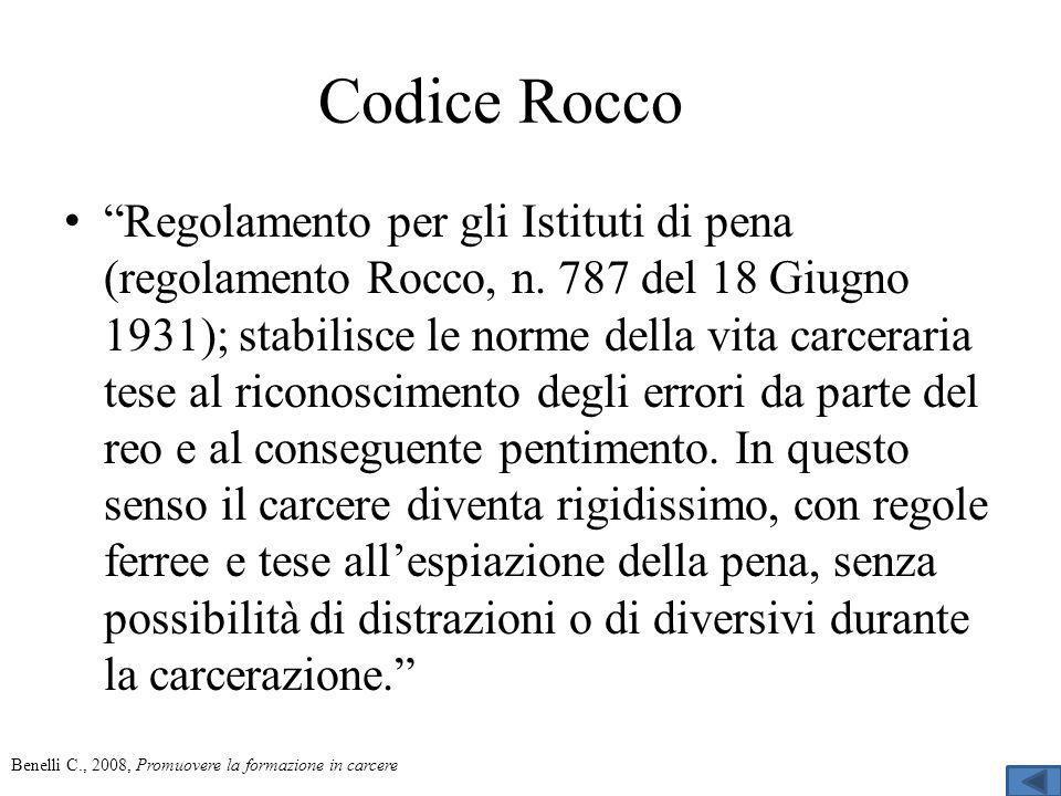 Codice Rocco Regolamento per gli Istituti di pena (regolamento Rocco, n.