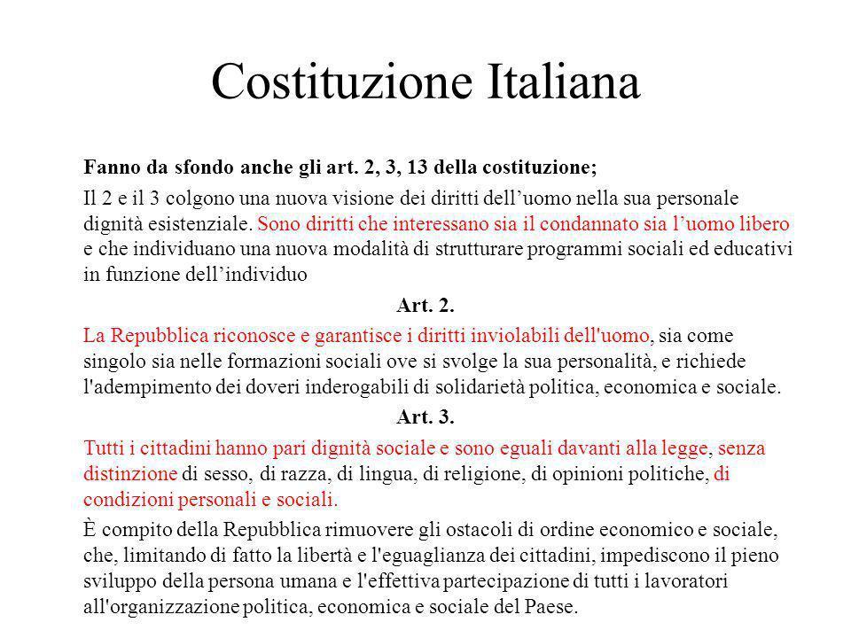 Costituzione Italiana Fanno da sfondo anche gli art.