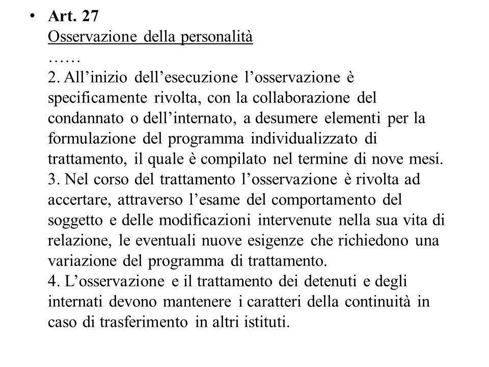 Art.27 Osservazione della personalità …… 2.