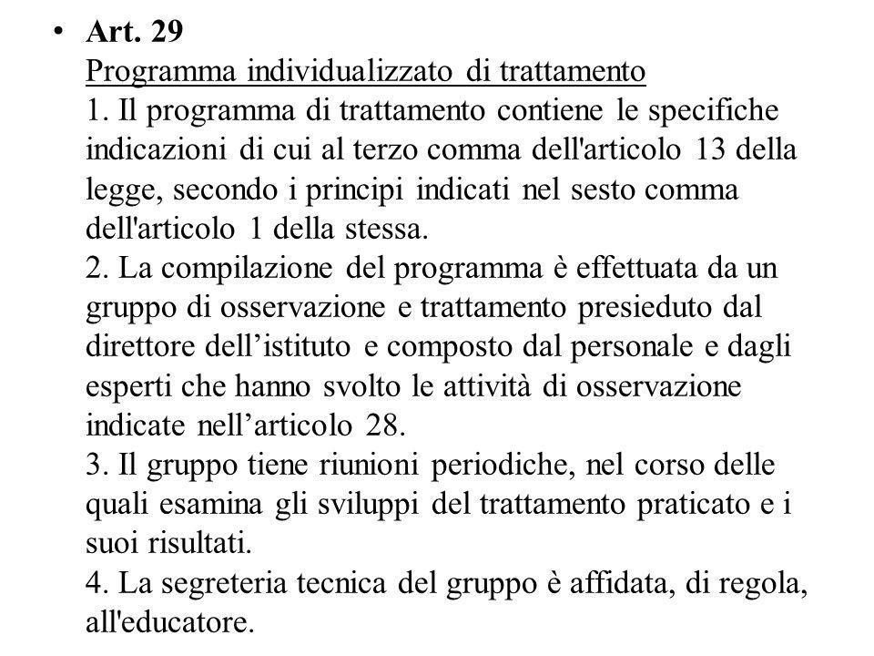 Art.29 Programma individualizzato di trattamento 1.