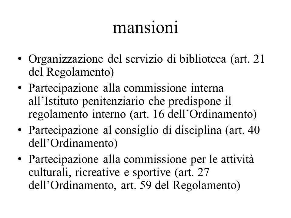 mansioni Organizzazione del servizio di biblioteca (art.
