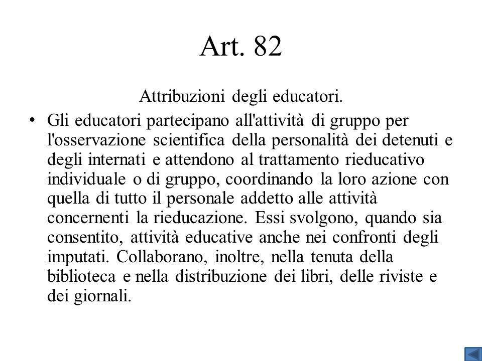 Art.82 Attribuzioni degli educatori.