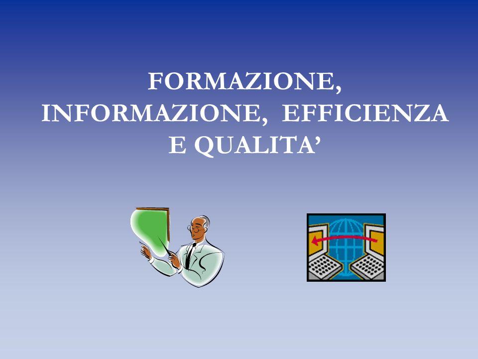 FORMAZIONE, INFORMAZIONE, EFFICIENZA E QUALITA