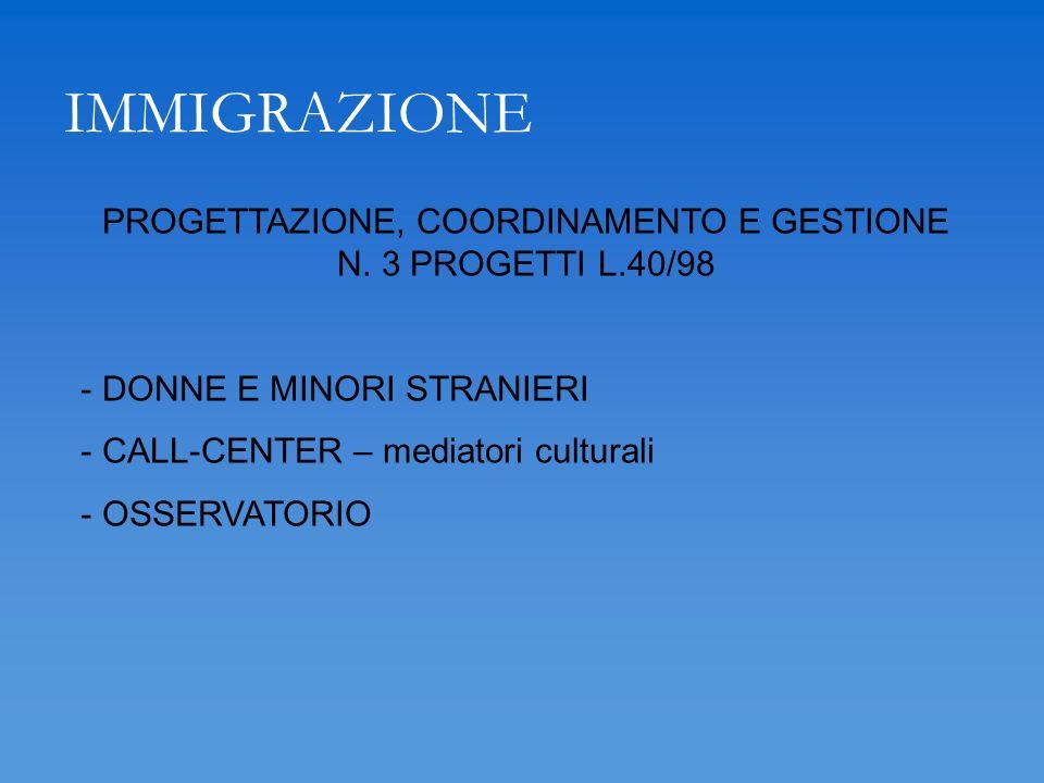 IMMIGRAZIONE PROGETTAZIONE, COORDINAMENTO E GESTIONE N. 3 PROGETTI L.40/98 - DONNE E MINORI STRANIERI - CALL-CENTER – mediatori culturali - OSSERVATOR