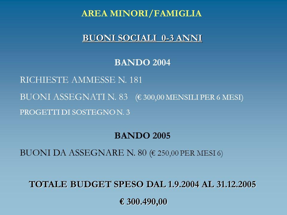 AREA MINORI/FAMIGLIA BUONI SOCIALI 0-3 ANNI BANDO 2004 RICHIESTE AMMESSE N. 181 BUONI ASSEGNATI N. 83 ( 300,00 MENSILI PER 6 MESI) PROGETTI DI SOSTEGN