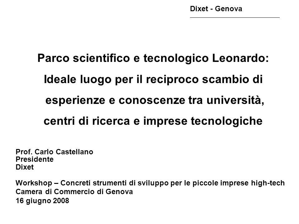 Dixet - Genova ________________________________________________ A Genova studi e proposte sullo sviluppo dellhigh- tech e sulla creazione di un Parco Tecnologico nel ponente genovese risalgono già a 20 anni fa.
