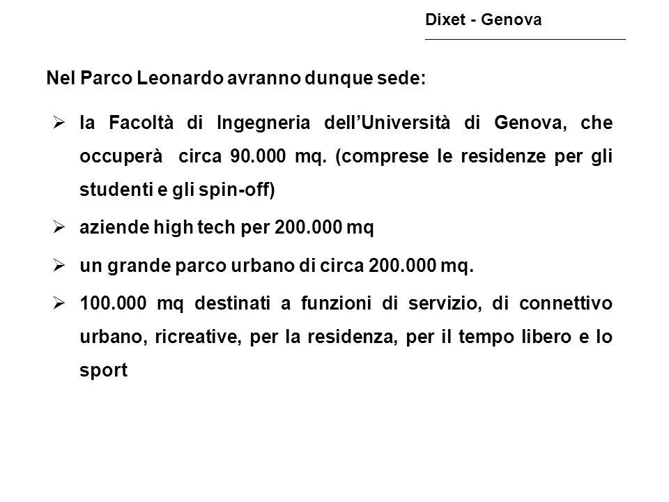 Nel Parco Leonardo avranno dunque sede: Dixet - Genova ________________________________________________ la Facoltà di Ingegneria dellUniversità di Gen