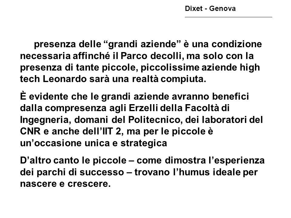Dixet - Genova ________________________________________________ La presenza delle grandi aziende è una condizione necessaria affinché il Parco decolli